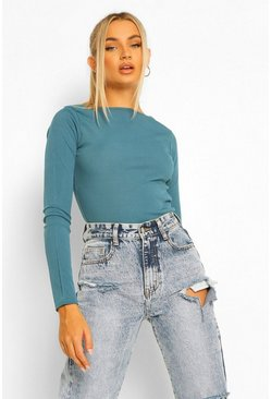 Teal Seam Detail Rib Long Sleeve Top