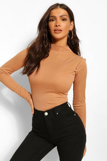 Camel beige High Neck Button Long Sleeve Bodysuit