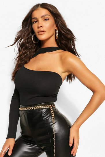 Black High Neck One Shoulder Rib Bodysuit