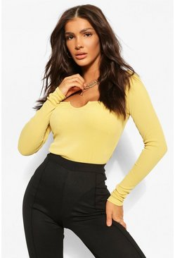 Chartreuse yellow Notch Scoop Neck Rib Bodysuit