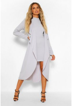 Ice blue Waterfall Duster and High Neck Mini Dress Set