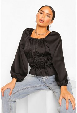 Black Satin Shirred Waist Square Neck Blouse