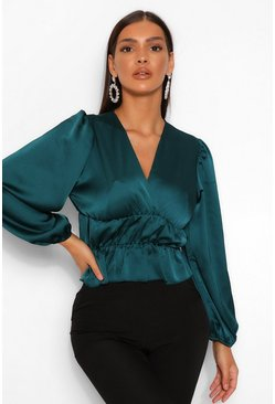 Forest green Satin Ruched Waist Blouse