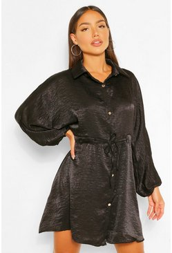 Black Hammered Satin Ruched Waist Shirt Dress