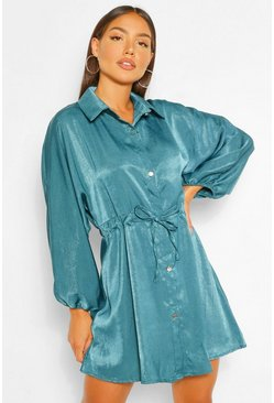 Teal green Hammered Satin Ruched Waist Shirt Dress