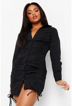 Black Rouched Long Sleeve Shirt Dress