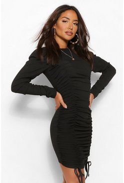 Black Gathered Sleeve Ruched Front Mini Dress