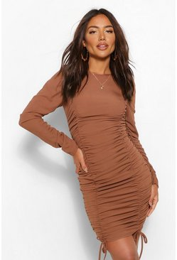 Chocolate brown Gathered Sleeve Ruched Front Mini Dress