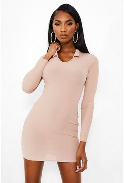 Stone beige Rib Collar Mini Dress