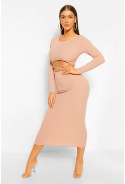 Stone beige Cut Out Rib Long Sleeve Midaxi Dress