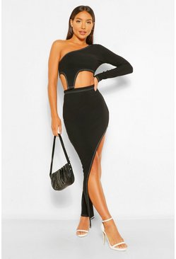 Black Bandage Rib Contrast Asymetric Co-ord