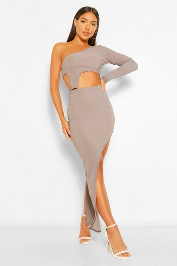 Grey Bandage Rib Contrast Asymetric Co-ord