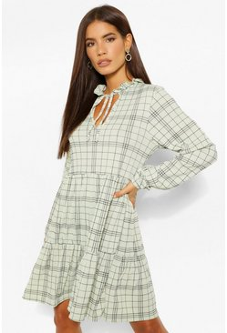 Green Check High Neck Smock Dress