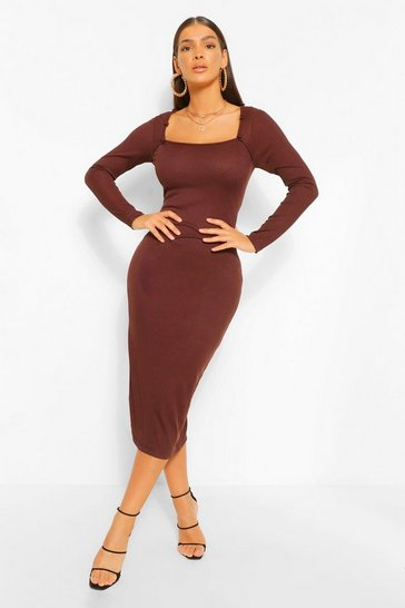 Chocolate brown Rib Square Neck Button Detail Midaxi Dress