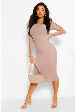 Stone beige Rib Cut Out Long Sleeve Midi Dress