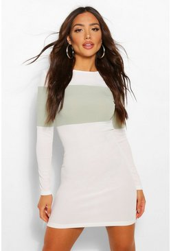 Sage green Rib Colour Block Mini Dress