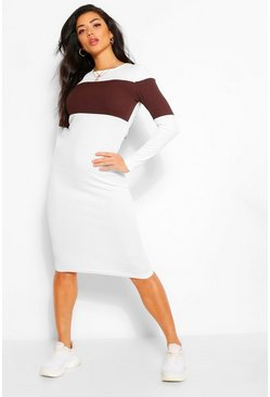 Chocolate brown Rib Colour Block Midi Dress