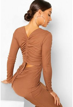 Chocolate brown Rib Rouched Cut Out Back Midi Dress