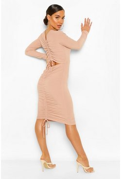 Stone beige Rib Rouched Cut Out Back Midi Dress