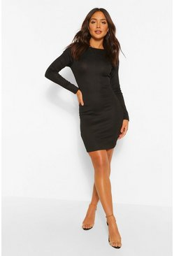 Black Rib Rouched Cut Out Back Mini Dress