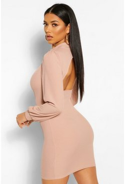 Stone beige Rib Cut Out Back Puff Sleeve Mini Dress