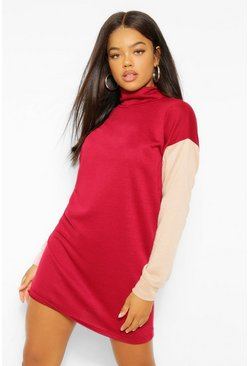 Berry Colour Block High Neck Sweat Dress