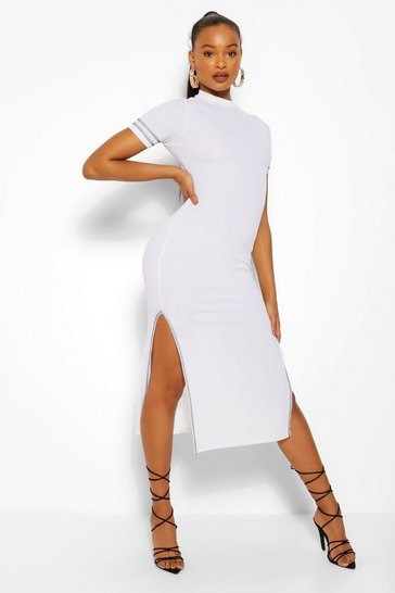 White Contrast Stitch Cut Out Back Midaxi Dress