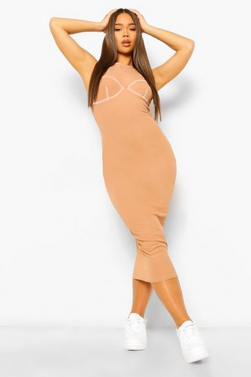 Camel beige Contrast Stitch Rib Cup Detailing Midaxi Dress