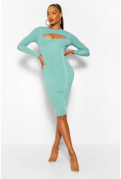 Teal green Contrast Stitch Rib Cut Out Bodycon Midi Dress
