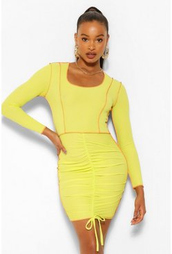 Lime green Contrast Stitch Rib Rouched Front Mini Dress