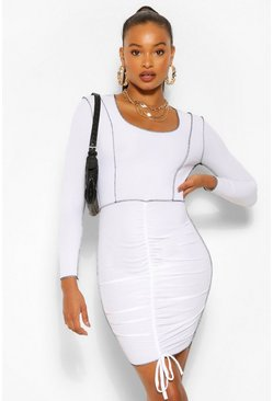 White Contrast Stitch Rib Rouched Front Mini Dress