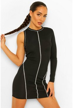 Black Contrast Stitch Rib Asymetric Racer Mini Drses