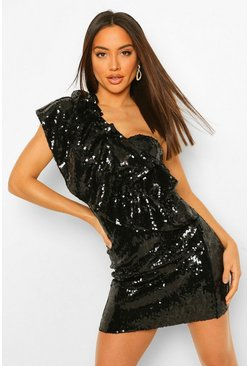 Black Sequin Ruffle One Shoulder Mini Dress