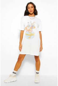 "T-Shirt-Kleid mit ""Looney Tunes World Champs""-Print, Weiß"