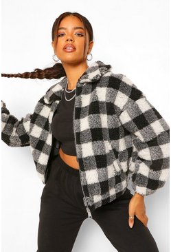 Black Check Teddy Faux Fur Bomber Jacket