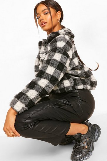 Black Check Teddy Faux Fur Trucker Jacket