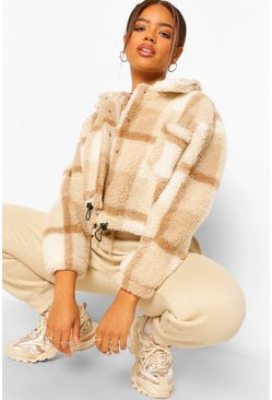 Check Teddy Faux Fur Trucker Jacket, Stone beige