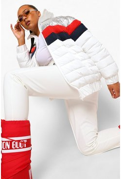 White Plus Colour Block Funnel Neck Apres Ski Jacket