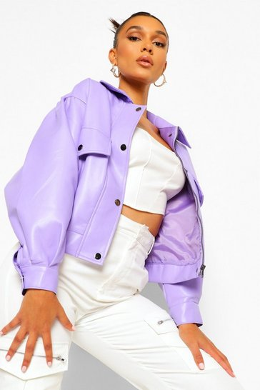 Lilac purple Faux Leather Bomber Jacket