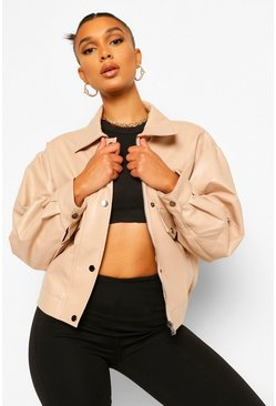 Stone beige Faux Leather Bomber Jacket