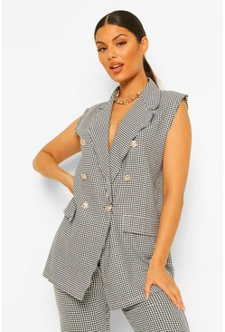 Black Dogtooth Button Detail Sleeveless Waistcoat