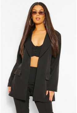 Black Tailored Oversized Longline Blazer