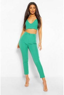 Emerald Tailored Button Bralet