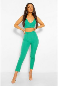 Emerald Tailored Pintuck Seam Skinny Trouser
