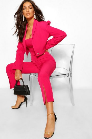Hot pink pink Tailored Split Hem Tapered Trouser