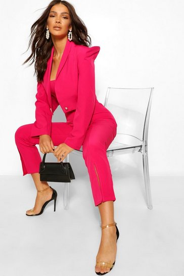 Hot pink pink Tailored Power Shoulder Military Crop Blazer
