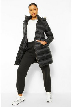 Black Longline Padded Faux Fur Hooded Jacket