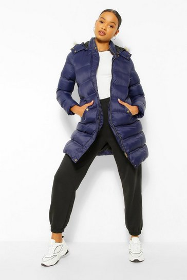 Navy Longline Padded Faux Fur Hooded Jacket