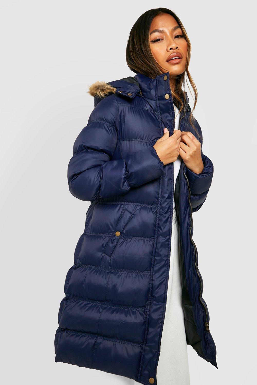 COATS & JACKETS Longline Padded Faux Fur Hooded Jacket