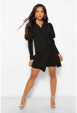 Black Puff Sleeve Wrap Blazer Dress